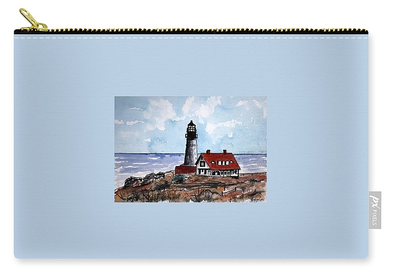 Lighthouse Paintings Carry-all Pouch featuring the painting Portland Head Lighthouse by Derek Mccrea