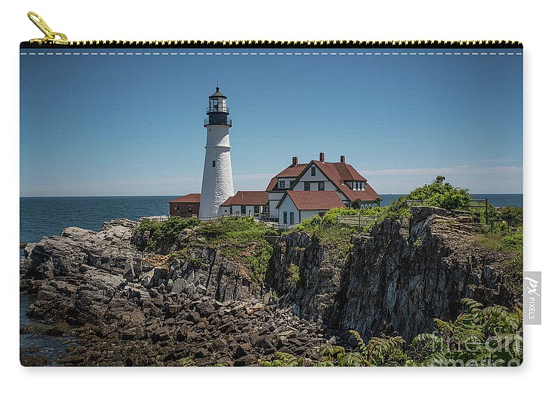 Lighthouse Carry-all Pouch featuring the photograph Portland Head Lighthouse by Judy Wolinsky
