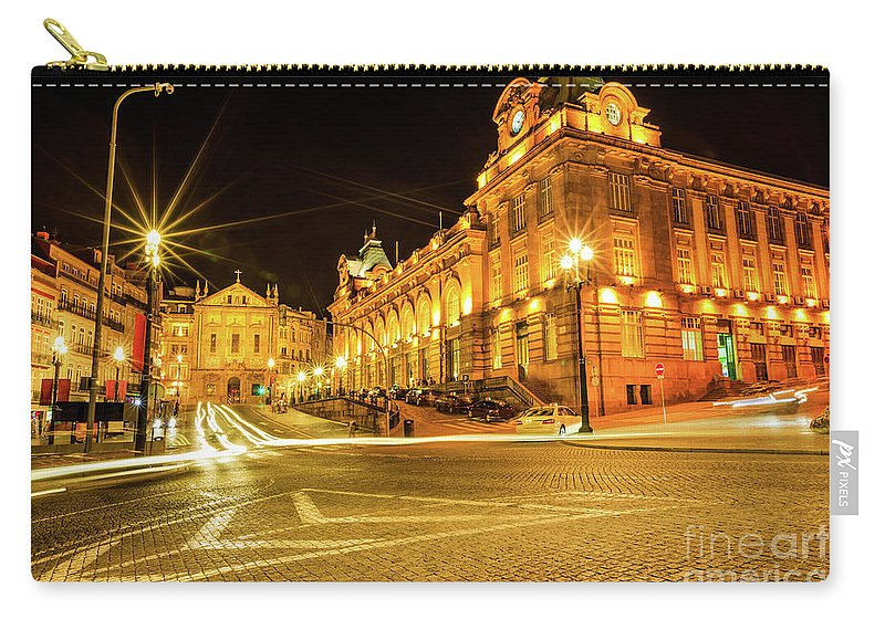 Porto Carry-all Pouch featuring the photograph Porto City By Night by Benny Marty