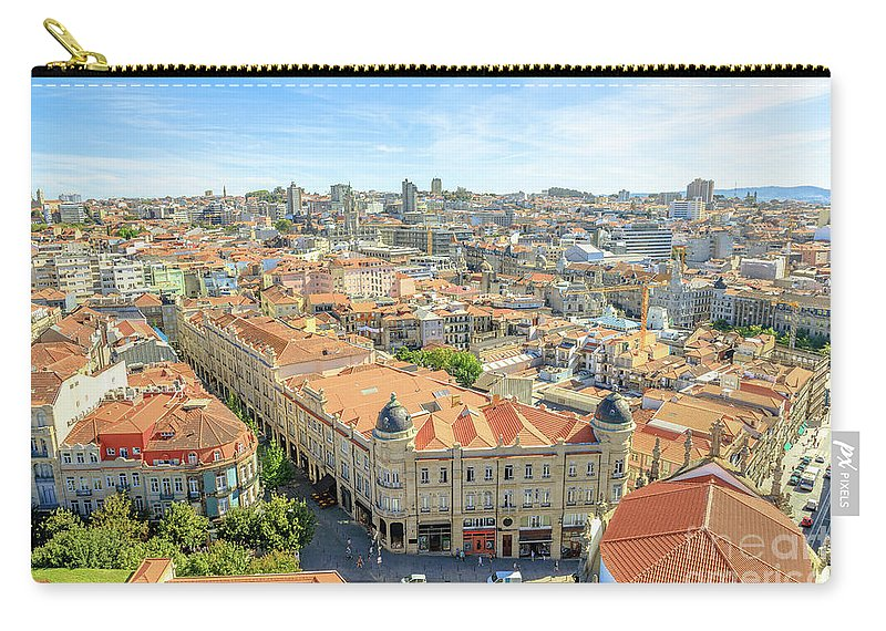 Porto Carry-all Pouch featuring the photograph Porto Historic Center Aerial by Benny Marty