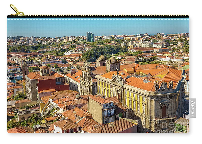 Oporto Carry-all Pouch featuring the photograph Porto Skyline Portugal by Benny Marty