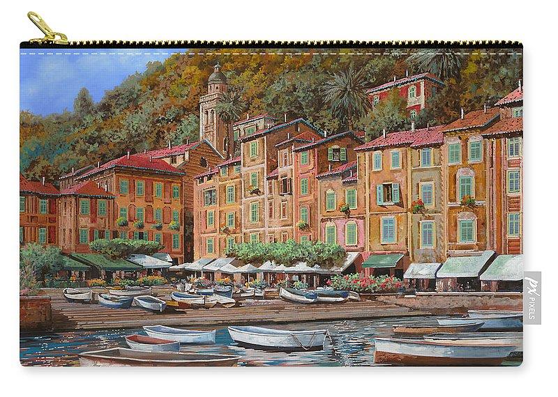 Portofino Carry-all Pouch featuring the painting Portofino-la Piazzetta E Le Barche by Guido Borelli
