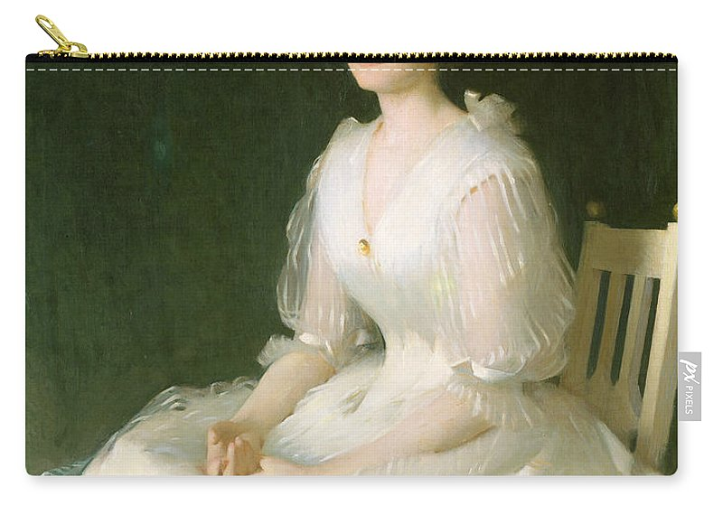American Artist Carry-all Pouch featuring the painting Portrait In White by Frank Weston Benson