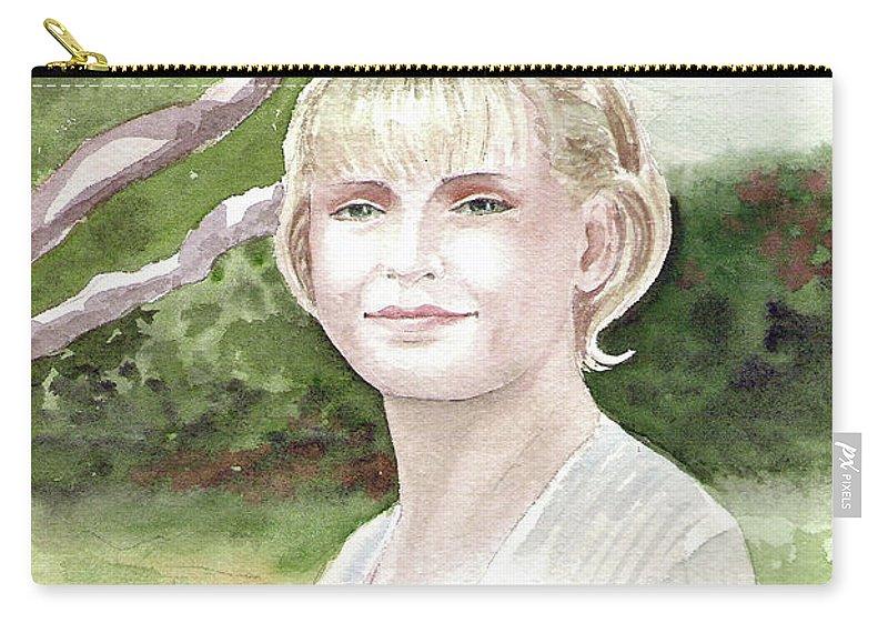 Portrait Carry-all Pouch featuring the painting Portrait by Irina Sztukowski