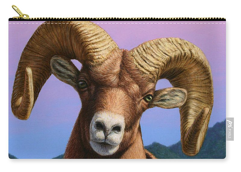 Bighorn Carry-all Pouch featuring the painting Portrait Of A Bighorn by James W Johnson