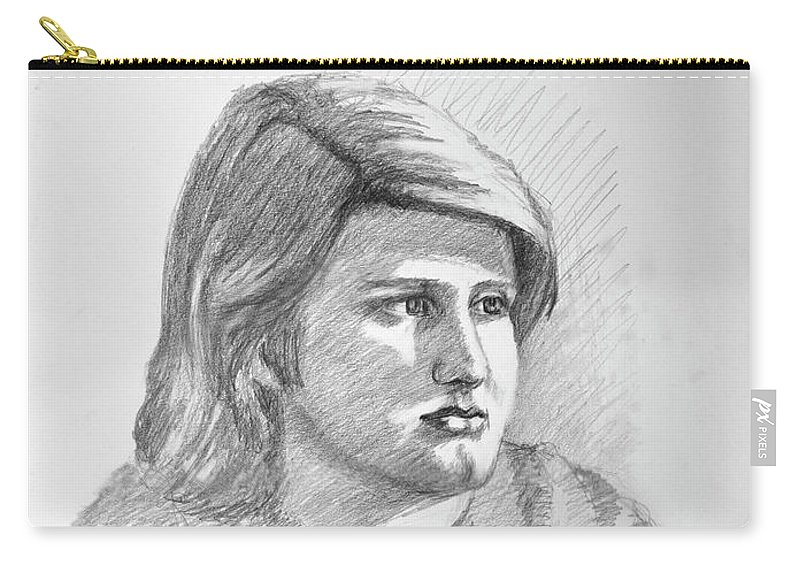 Realism Carry-all Pouch featuring the drawing Portrait Of A Boy by Keith Burgess
