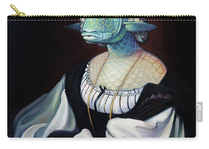 Fish Carry-all Pouch featuring the painting Portrait Of A Gentlefisher by Patrick Anthony Pierson