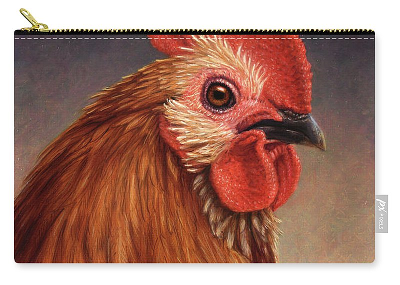 Rooster Carry-all Pouch featuring the painting Portrait Of A Rooster by James W Johnson