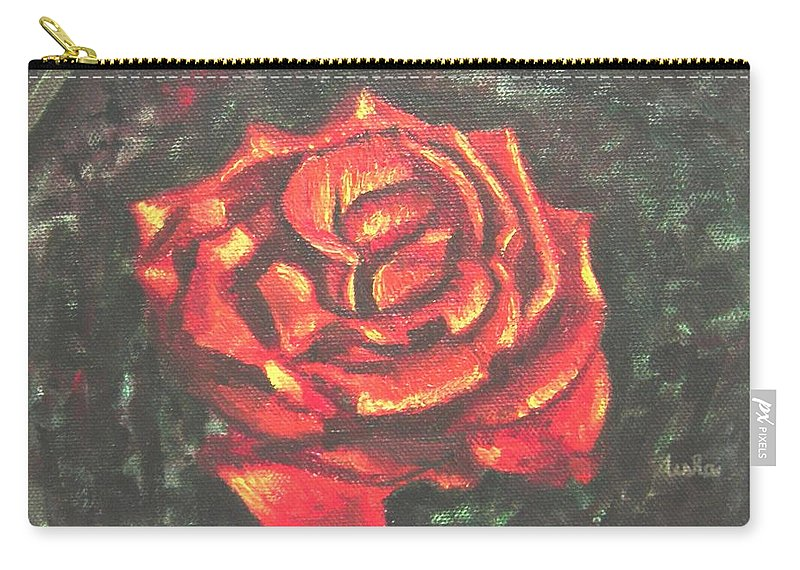 Red Carry-all Pouch featuring the painting Portrait Of A Rose 2 by Usha Shantharam