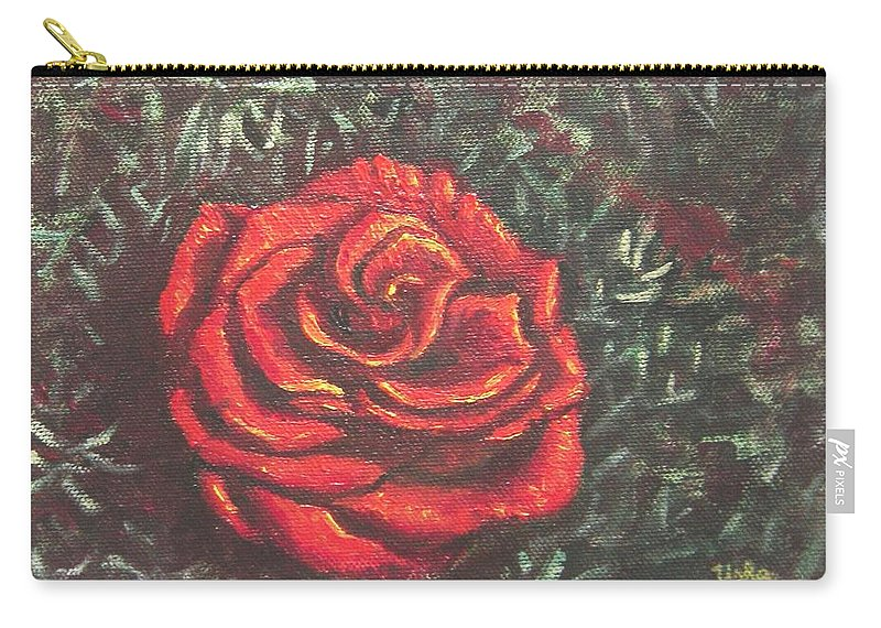 Portrait Carry-all Pouch featuring the painting Portrait Of A Rose 4 by Usha Shantharam