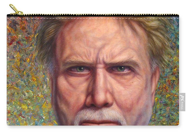 Self-portrait Carry-all Pouch featuring the painting Portrait Of A Serious Artist by James W Johnson