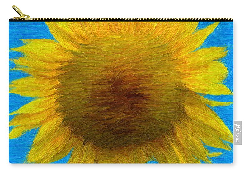 Blue Carry-all Pouch featuring the painting Portrait Of A Sunflower by Jeffrey Kolker