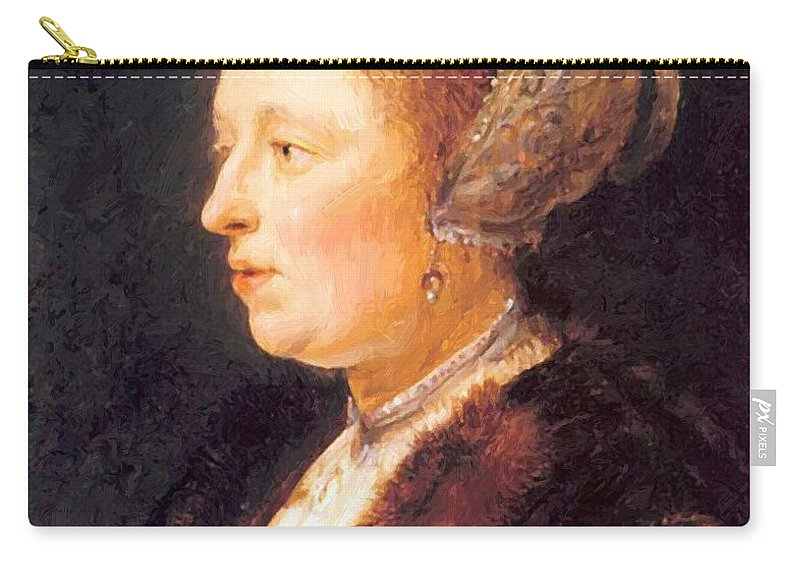Portrait Carry-all Pouch featuring the painting Portrait Of A Woman 1640 by Dou Gerrit