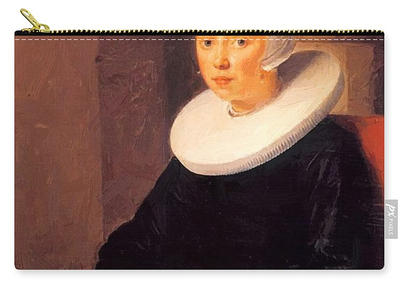 Portrait Carry-all Pouch featuring the painting Portrait Of A Woman 1646 by Dou Gerrit