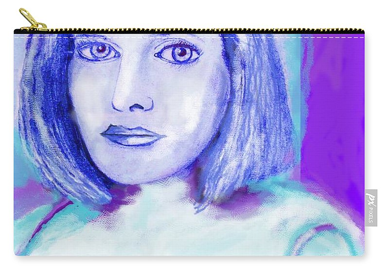 Woman Carry-all Pouch featuring the drawing Portrait Of A Woman by Eric Schiabor
