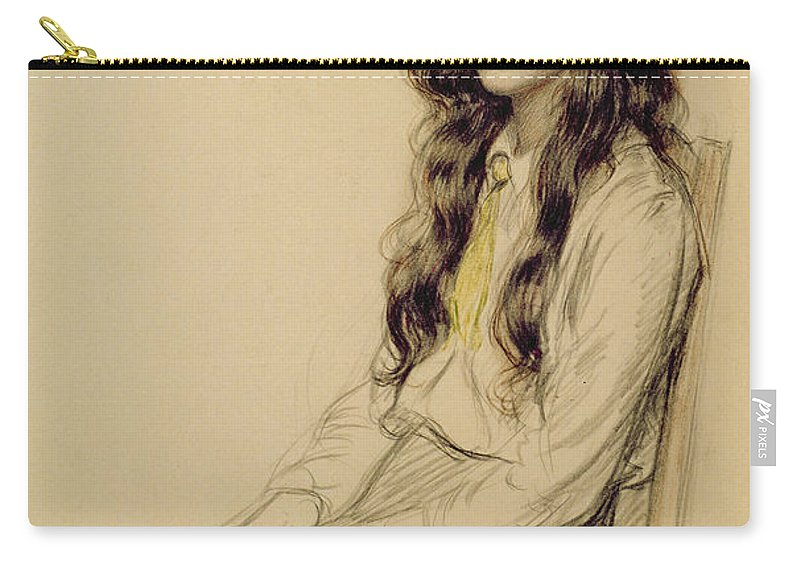 Portrait Carry-all Pouch featuring the drawing Portrait of a Young Girl by Frederick Pegram