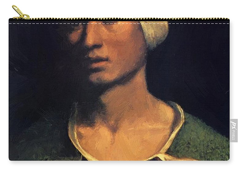 Portrait Carry-all Pouch featuring the painting Portrait Of A Young Man With A Dog And A Cat by Dossi Dosso