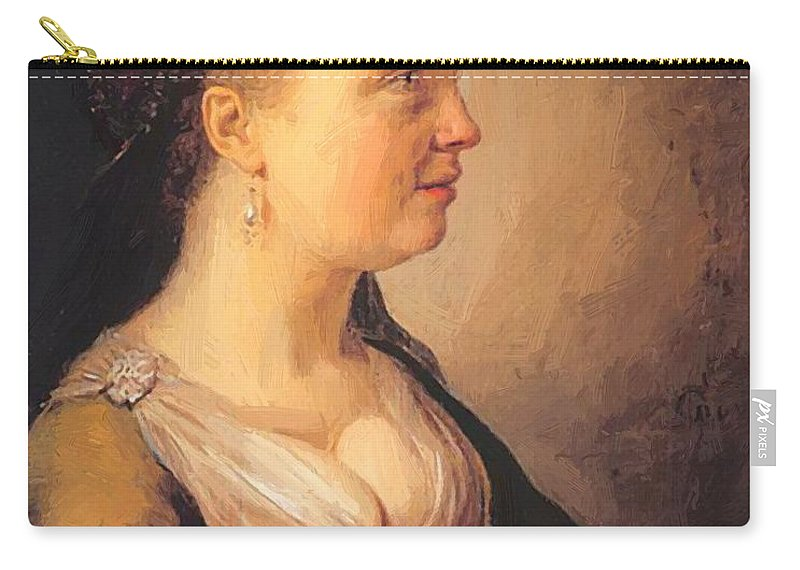 Portrait Carry-all Pouch featuring the painting Portrait Of A Young Woman 1640 by Dou Gerrit