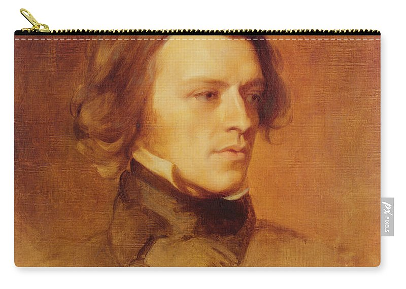 Portrait Carry-all Pouch featuring the painting Portrait Of Alfred Lord Tennyson by Samuel Laurence