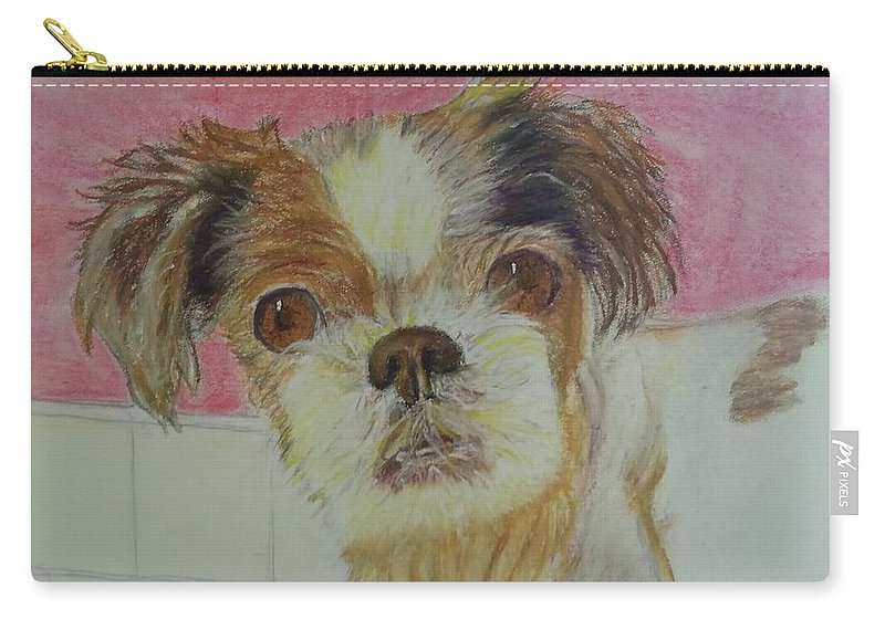 Dog Carry-all Pouch featuring the painting Portrait Of Brandy by Angel Figueroa