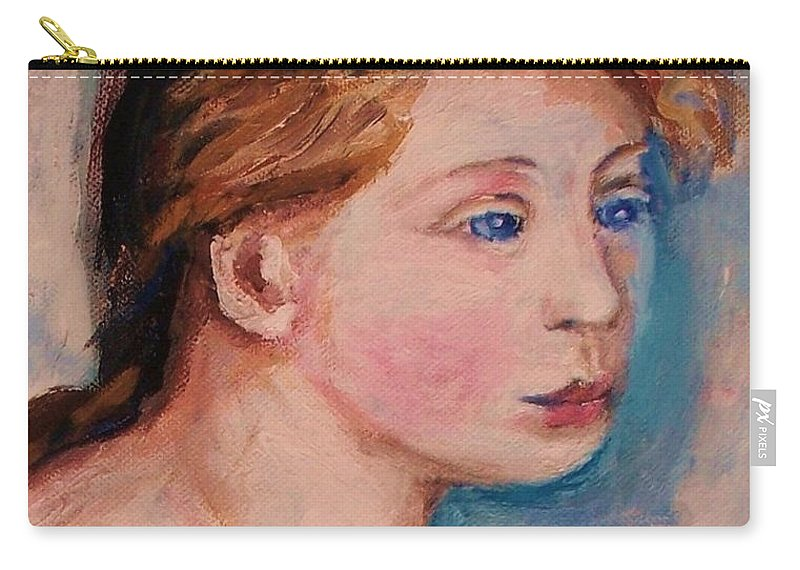Portraits Carry-all Pouch featuring the painting Portrait Of Country Girl by Eric Schiabor