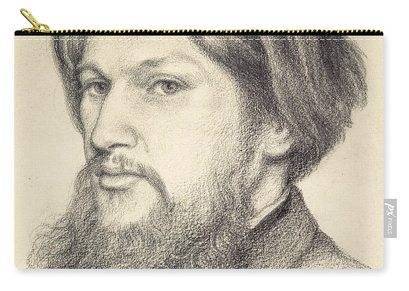 Dante Gabriel Rossetti Carry-all Pouch featuring the drawing Portrait Of Ford Madox Brown by Dante Gabriel Rossetti