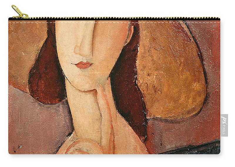 Portrait Carry-all Pouch featuring the painting Portrait of Jeanne Hebuterne in a large hat by Amedeo Modigliani