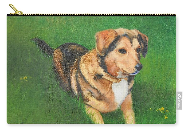 Dog Carry-all Pouch featuring the painting Portrait Of Kecia by Phyllis Tarlow