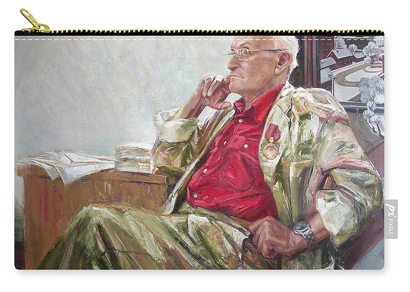 Oil Carry-all Pouch featuring the painting Portrait Of May Dancig by Sergey Ignatenko