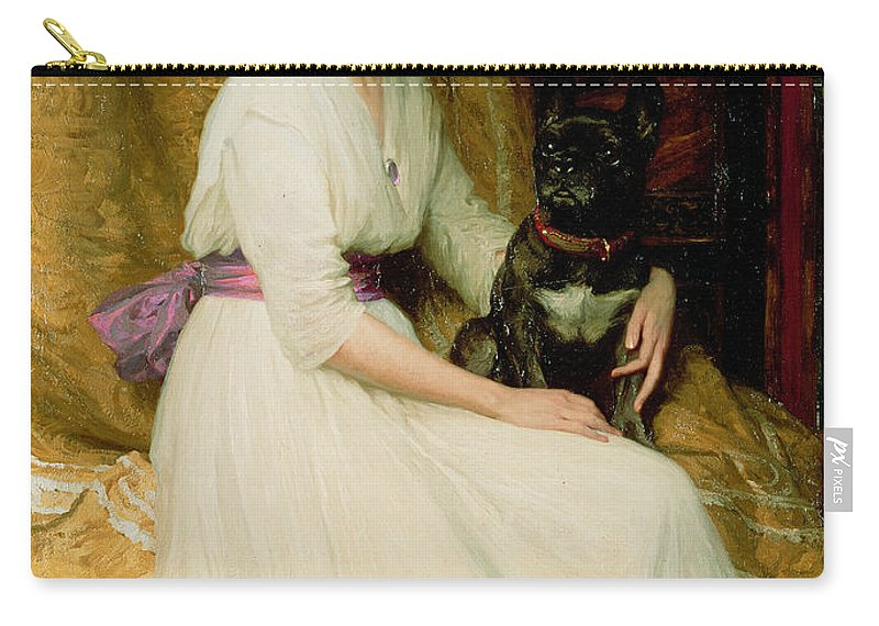 Portrait Carry-all Pouch featuring the painting Portrait Of Miss Dorothy Dicksee by Sir Frank Dicksee