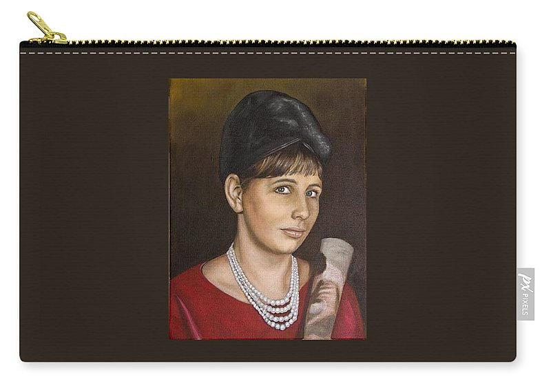 Portrait Carry-all Pouch featuring the painting Portrait Of My Mother Early Sixties by Rob De Vries