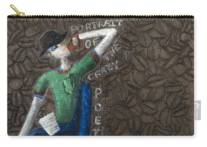 Portrait Carry-all Pouch featuring the painting Portrait Of The Crazy Poet by Kelly Jade King