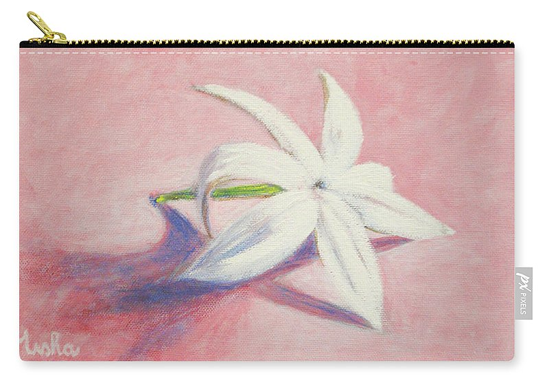 Portrait Carry-all Pouch featuring the painting Portrait Of The Jasmine Flower by Usha Shantharam