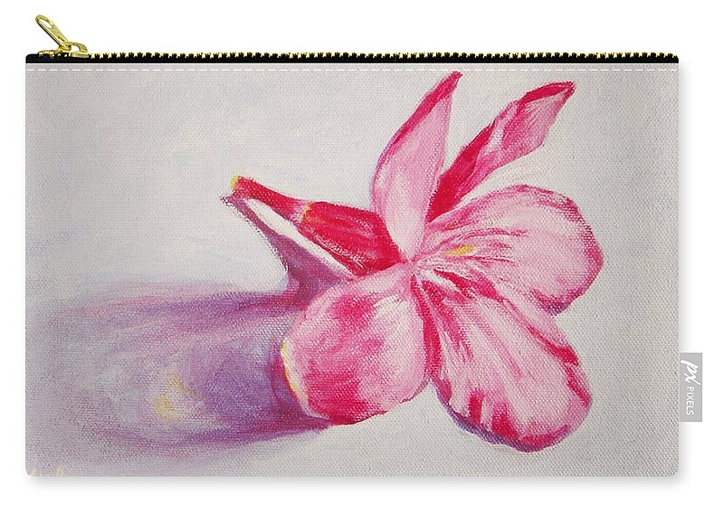 Genneri Carry-all Pouch featuring the painting Portrait Of The Kaneri Flower. Oleander by Usha Shantharam