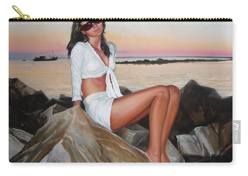 Art Carry-all Pouch featuring the painting Portrait by Sergey Ignatenko
