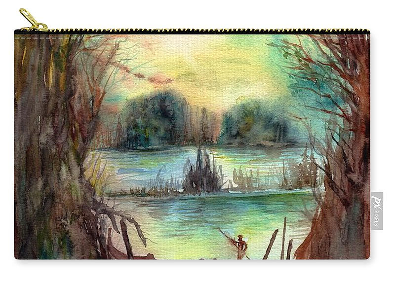 Skull Carry-all Pouch featuring the painting Portrait With A Boat by Suzann Sines