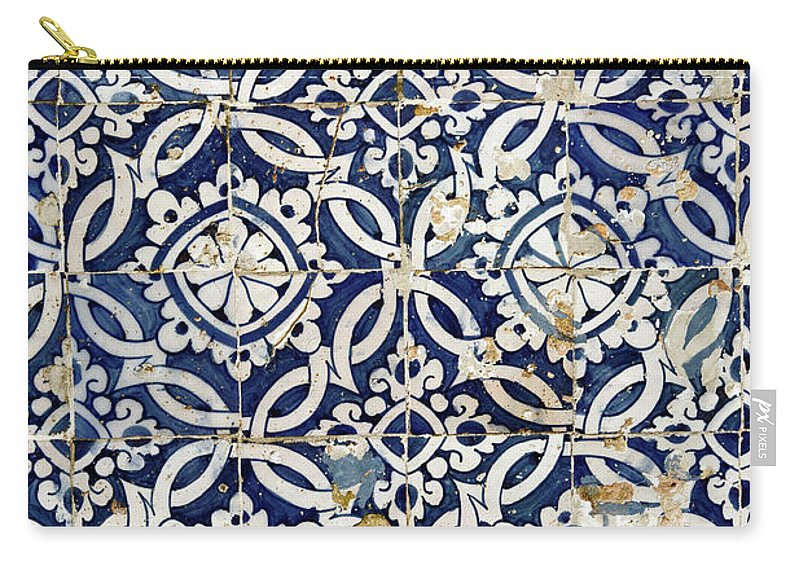Azulejo Carry-all Pouch featuring the photograph Portuguese Glazed Tiles by Gaspar Avila
