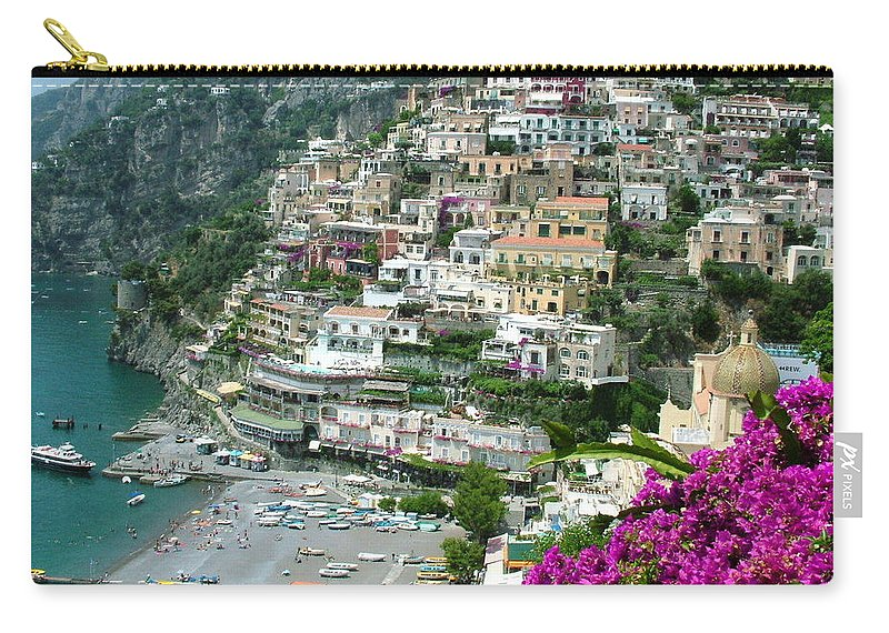 Positano Carry-all Pouch featuring the photograph Positano's Beach by Donna Corless