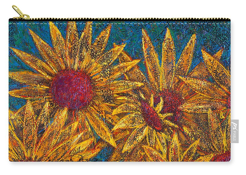 Flowers Carry-all Pouch featuring the painting Positivity by Oscar Ortiz