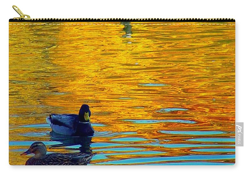Ducks Malard Lake Gold Canada Geese Blue Carry-all Pouch featuring the photograph Possibilities by Jack Diamond