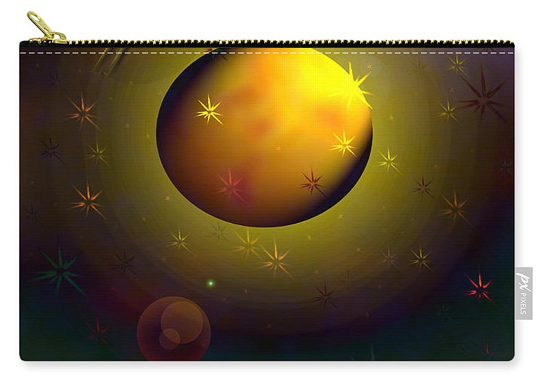 Spaceship Planets Outter Space Skies Galaxy Galaxies Other Worlds Unidentified Flying Objects The Unknown Ufo Star Martians Carry-all Pouch featuring the digital art Possible by Andrea Lawrence