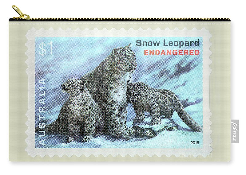 Postage Stamp Carry-all Pouch featuring the photograph Postage Stamp - Snow Leopard By Kaye Menner by Kaye Menner