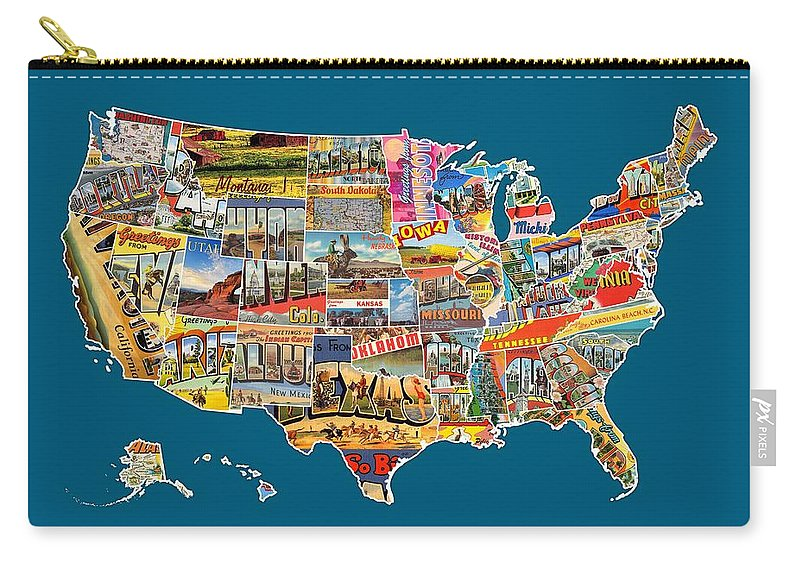 Postcards Of The United States Vintage Usa All 50 States Map Carry