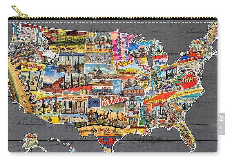 Postcards Of The United States Vintage Usa Map On Gray Wood Background on united states map poster, united states map color, united states map 1860,