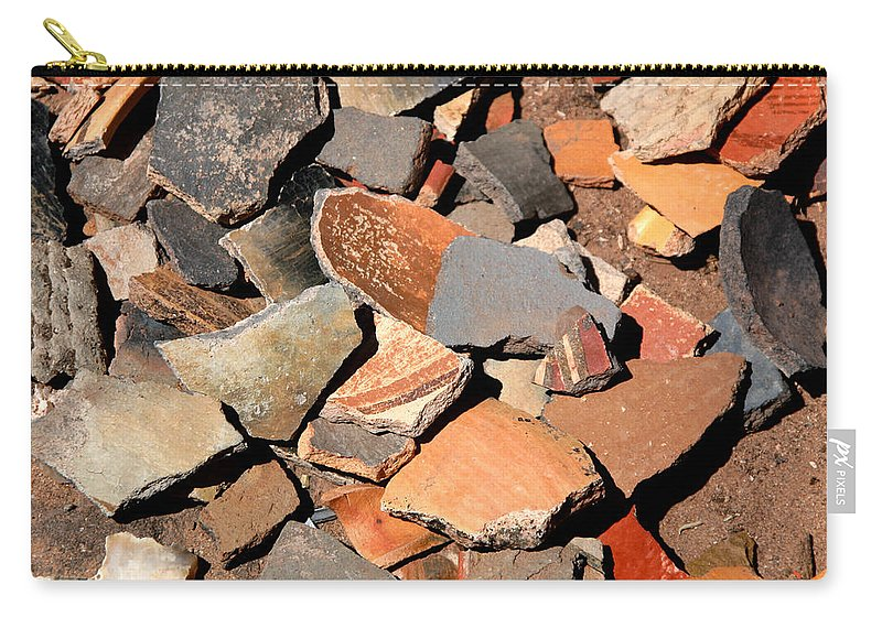 Native American Carry-all Pouch featuring the photograph Pot Shards by Joe Kozlowski