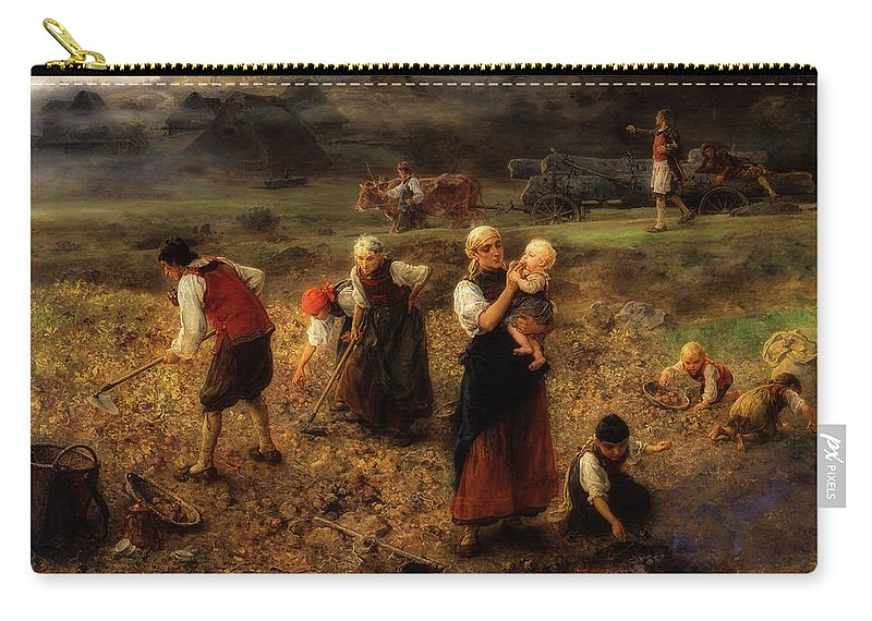 Painting Carry-all Pouch featuring the painting Potato Harvest by Ludwig Knaus