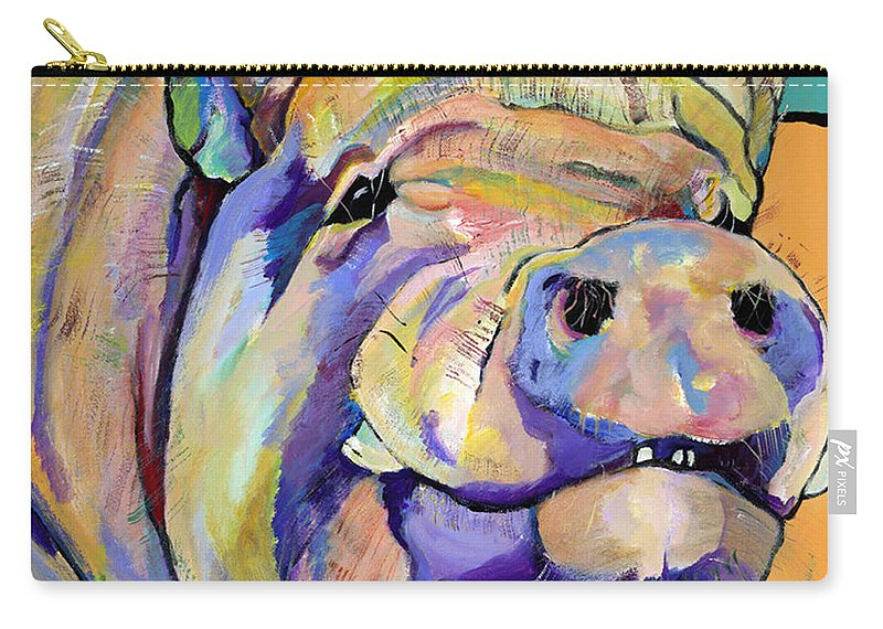 Pig Prints Carry-all Pouch featuring the painting Potbelly by Pat Saunders-White