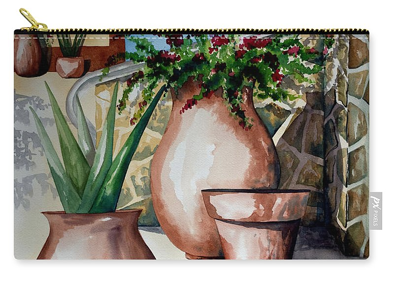 Floral Painting Carry-all Pouch featuring the painting Pots And Bougainvillea by Kandyce Waltensperger
