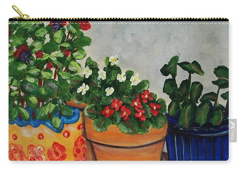 Ceramic Pots Carry-all Pouch featuring the painting Pots Showing Off by Laurie Morgan