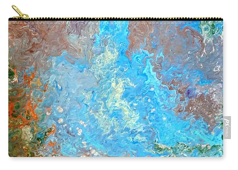 Acrylic Pour Carry-all Pouch featuring the painting Siskiyou Creek by Valerie Josi
